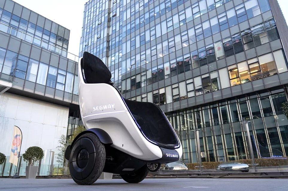 Segway brought its new personal transporter to CES today and let attendees cruise around in the electric vehicle. The S-Pod lets riders sit comfortably while powering the two-wheeled machine using a small joystick attached to the seat – and its creators used the gyrosphere from Jurassic World as inspiration