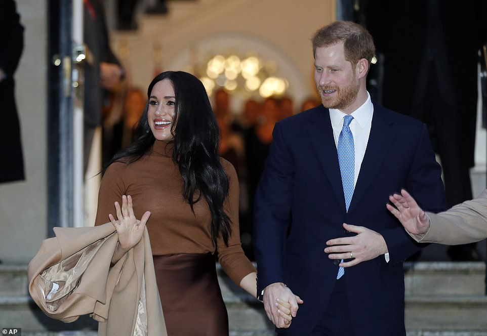 The Duke and Duchess of Sussex leave after visiting Canada House in London yesterday afternoon, after their recent stay in Canada