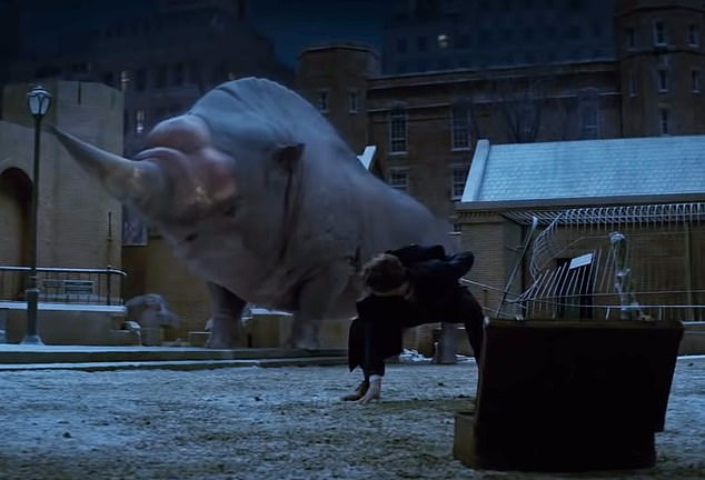 A mythical Erumpent from the film 'Fantastic Beasts and Where to Find Them'. The horn from the fictional creature will be showcased at theNatural History Museum