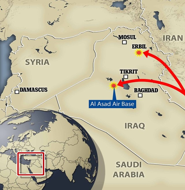 The Ayn al Asad airbase in western Iraq that was visited by Donald Trump in December 2018 and the Erbil base in Iraqi Kurdistan were both struck by the missiles on Tuesday at about 5.30pm (EST)