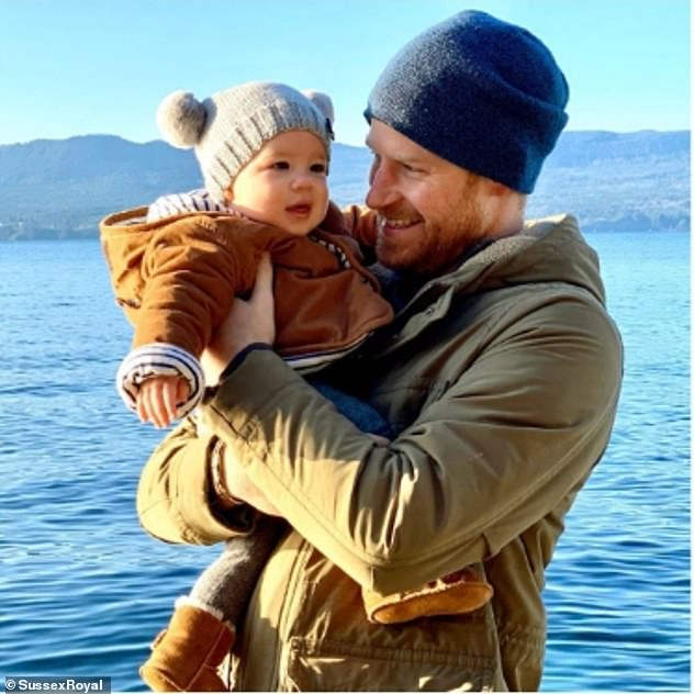Prince Harry and Meghan Markle have supported New Zealand social enterprise Make Give Live which crafts knitwear for families in need. On New Year's day they shared a snap of baby Archie wearing a Cocobear hat from the label while being held by his father in Canada (above)