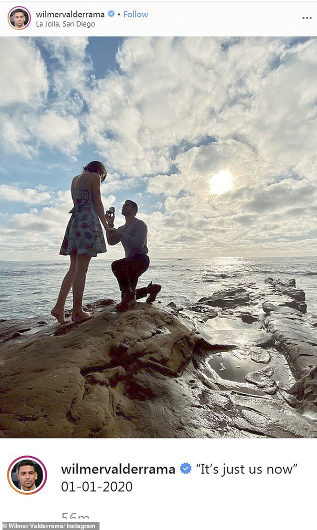 Happy news: He got down on one knee on New Year's Day and proposed to his girlfriend of nine months, Amanda Pacheco