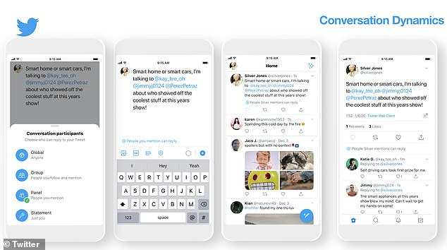 The social media giant took the stage at CES in Las Vegas to reveal 'conversation participants' that will appear in the Compose Tweet screen and include four reply settings: global, group, panel and statement.