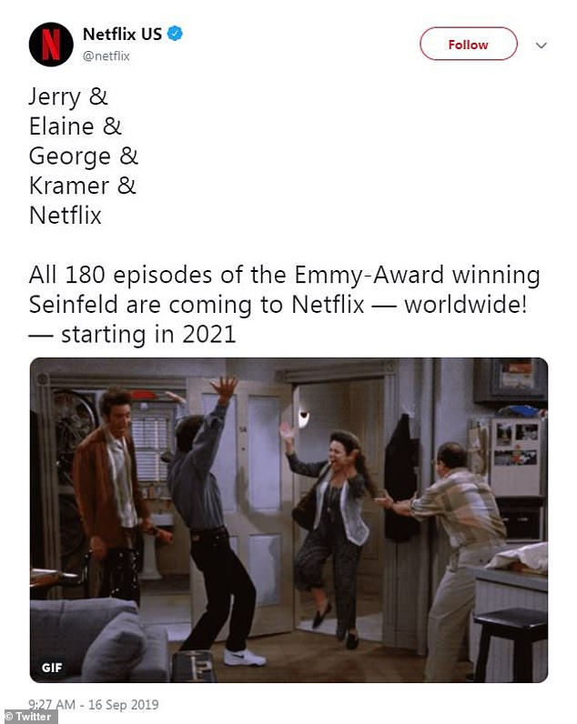 'Starting in 2021!' In September, the Seinfeld co-creator's alleged $900M fortune grew exponentially thanks to Netflix's $500M purchase to stream all 180 episodes of his NBC sitcom