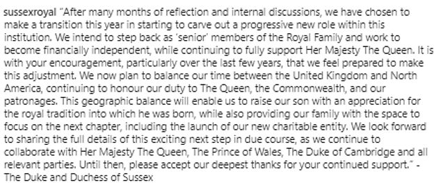 Announcement: The Duke and Duchess of Sussex released this statement via Instagram