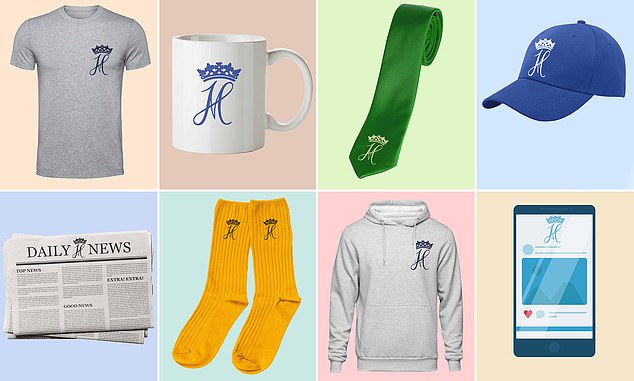 A series of mock-ups by MailOnline of how the products Sussex Royal are trying to trademark might look - including T-shirts, mugs, ties, caps, newspapers, socks, hoodies and webpages