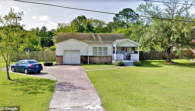 Williams died at the scene of the home (pictured) on Nathan Hale Avenue inPascagoula, Mississippi after a coroner's office employee allegedly found him burglarizing the property
