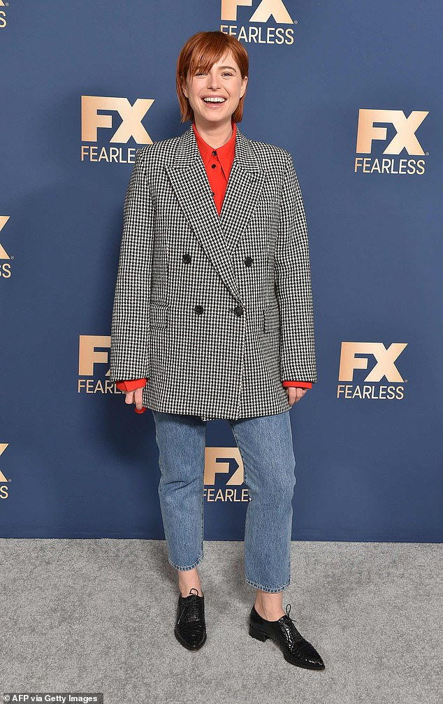 Irish actress Jessie Buckley, 30, joined the cast of FX's Fargo for its fourth season and put on a stylish show in a houndstooth jacket, red blouse, cropped blue jeans and black lace-up shoes