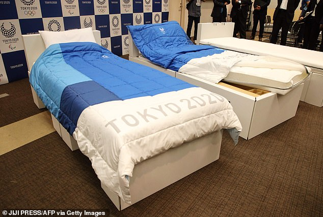 Airweave, the company which makes the 'sustainable' beds, previously said they can hold up to 440lbs (200kg) - which should be enough for at least two people