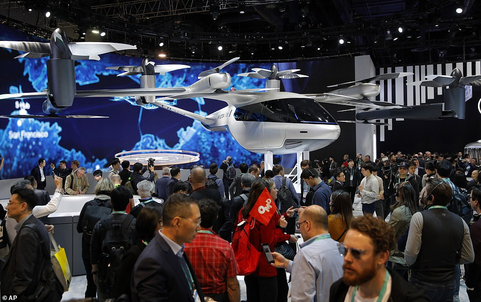 A concept electric aircraft was unveiled for the first time at the Consumer Electronics Show (CES) in Las Vegas Tuesday, which is designed to carry up to four passengers with a pilot and fly on trips of up to 60 miles (100 km).