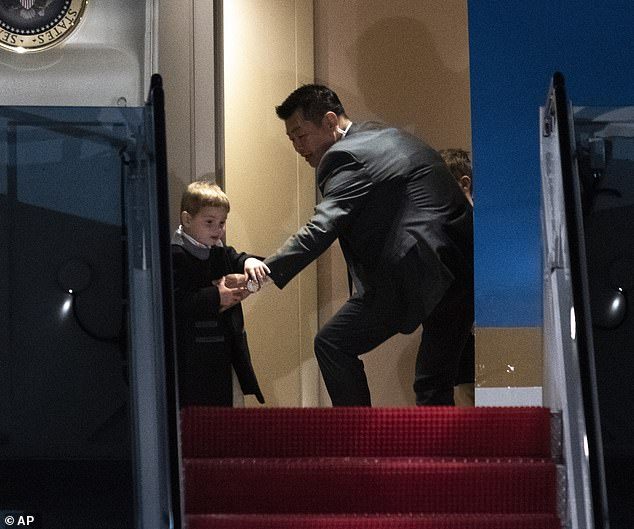 Making a run for it: Ivanka revealed this week that her three-year-old son Theodore tried to escape Air Force One when they returned to Washington, D.C. on Sunday evening