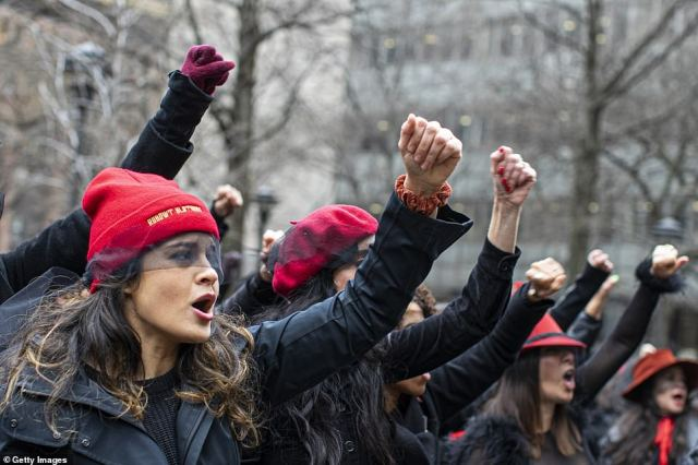 The proceedings were interrupted at 11am last Friday by the sound of chanting and percussion instruments bellowing through the courthouse window as an all-female protest against Weinstein was staged outside