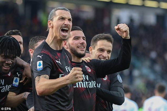 Zlatan Ibrahimovic celebrates after netting his first goal since rejoining AC Milan
