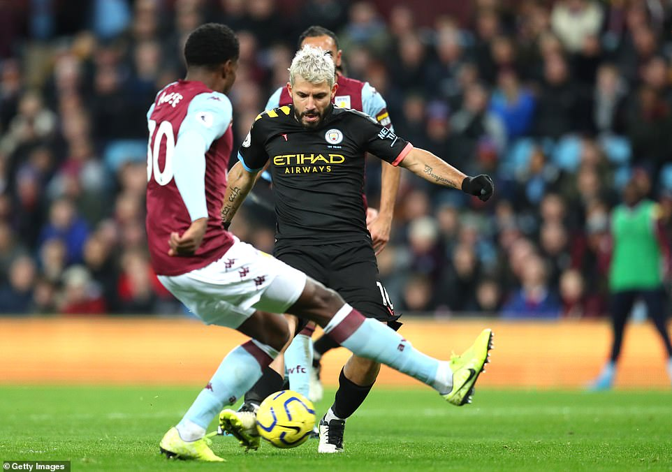 The Argentine hammers home a fifth for Manchester City as the visitors thrash Aston Villa in their own backyard on Sunday