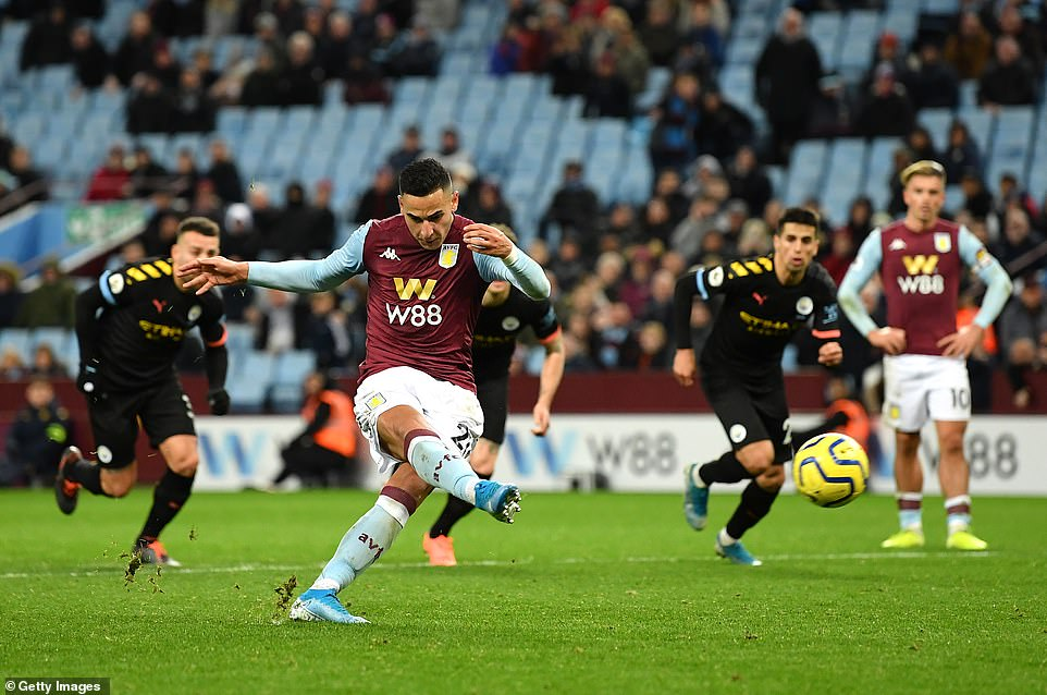 Anwar El Ghazi of Aston Villa scored a consolation goal for his side with the last kick of the game from the penalty spot