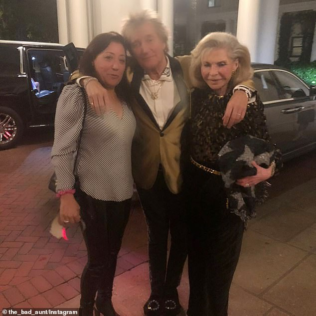 Rod's big night out: Stewart is seen with fans at the Breakers Hotel on the night the fight went down.Stewart and his 39-year-old son Sean were arrested and charged with simple battery, a misdemeanor that could land them up to a year in jail