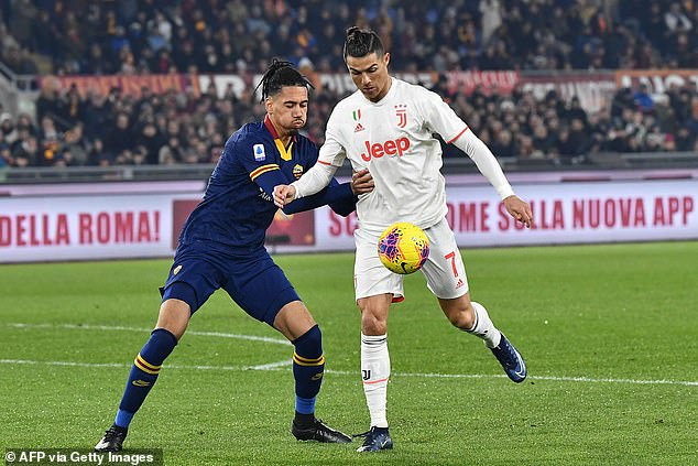 Smalling tussles with Ronaldo during Juventus' hard-fought 2-1 victory in Serie A on Sunday