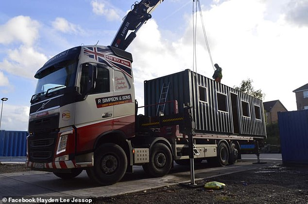 The aim is to get to the point where there are eight or so containers housing one person each. Pictured, the first container arriving in Leeds