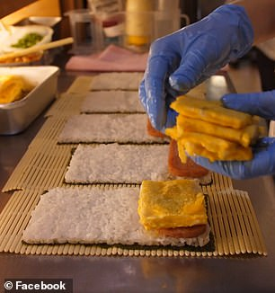 The freshly made hand-rolled 'rice balls' consists of nori-seaweed, rice, soft fried eggs shaped in a rectangle and lightly grilled spam patties