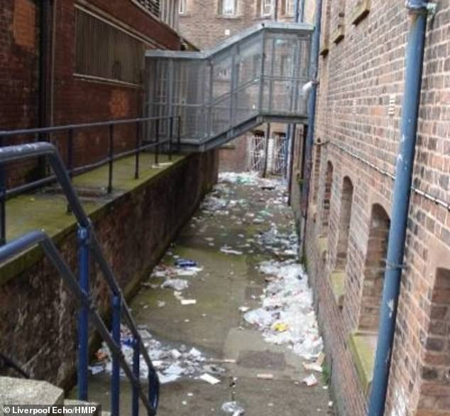 The trash was outside the cell blocks that had been thrown out the windows and allowed to rot.