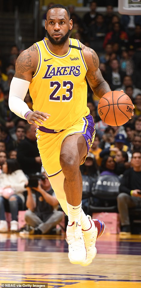 Victory: LeBron James led the way as the LA Lakers fought back to thrash the Cleveland Cavaliers 128-99 to record a ninth-successive victory