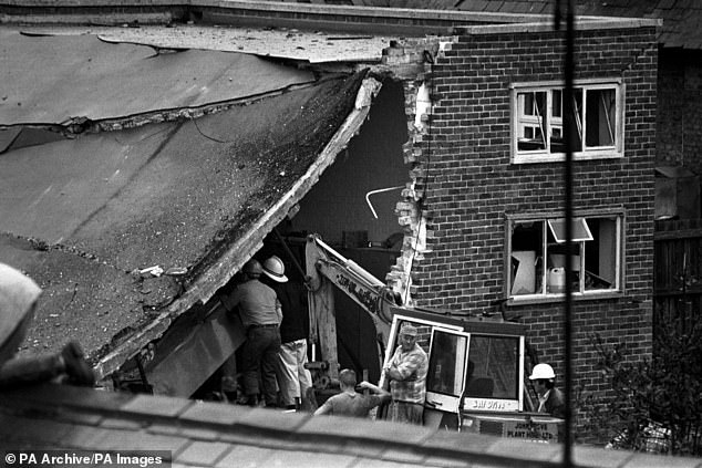 The aftermath of the 1989 IRA attack on a Royal Marine base in Deal, Kent, which killed 11