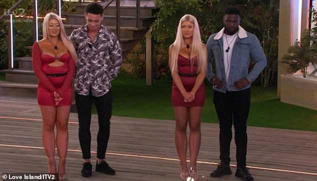 Relocation: Jess chose to steal Mike from Leanne Amaning, 22, (right) while Eve chose to steal Callum, 23, from Shaughna Phillips, 25 (left)