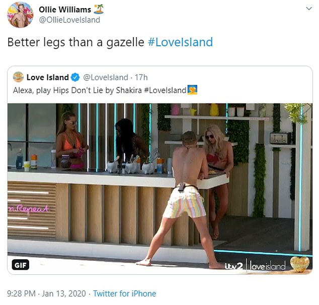 Uncomfortable: Ollie's Twitter account, currently managed by his friends, tweeted a meme of him leaning against the villa's breakfast bar in bathing shorts, with the title 'Alexa, play Hips Don't Lie by Shakira', while Ollie swayed back and forth. Ollie's Twitter then subtitled the re-tweet 'Better legs than a gazelle'