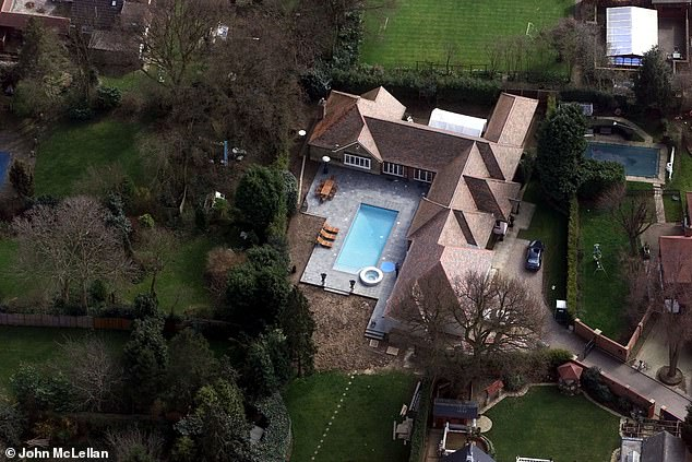 An aerial view shows the swimming pool at Barrymore's Roydon mansion
