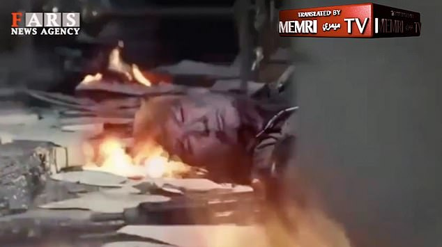 The images in the video show leaders like Donald Trump dead on the floor with the fire around them