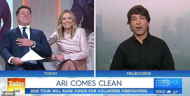 Unexpected: Arj Barker (right) unexpectedly announced his divorce live on the Today show on Wednesday - and his hilarious account of his separation left host Karl Stefanovic in stitches