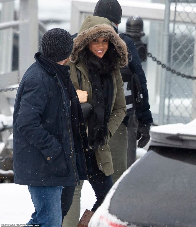A smiling Meghan Markle was spotted Tuesday leaving the $14million Vancouver Island home where she and Prince Harry stayed over the holidays with Archie. She has been staying in the mansion since last week, but Archie was nowhere to be seen Tuesday
