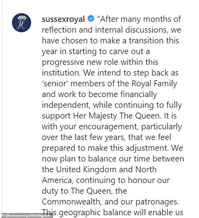 Making headlines: 'After many months of reflection and internal discussions, we have chosen to make a transition this year in starting to carve out a progressive new role within this institution,' the pair wrote on Instagram