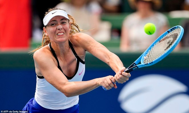 Pictured in action on Tuesday, Sharapova had to bring the match to an end. It is clear players have been struggling with the worsening conditions