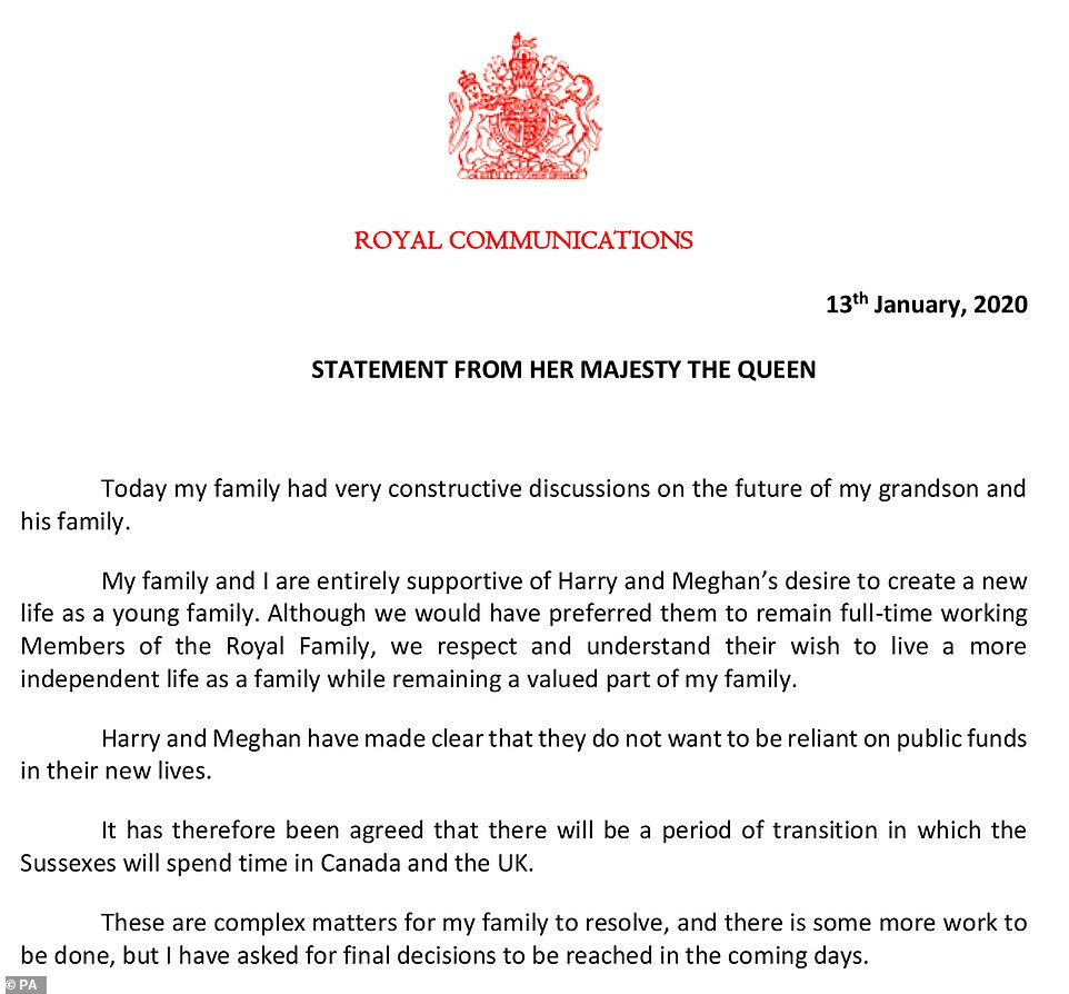 The Queen's statement in full Monday evening after a day of reckoning speaks to decide the future of Prince Harry and Meghan Markle