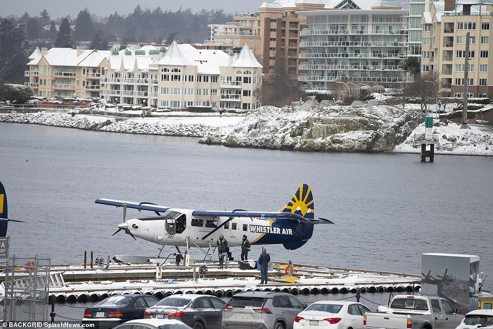 The Duchess hurried 22 miles from the Vancouver Island seaside villa to Victoria Harbor airport where she boarded a Whistler Air seaplane to the mainland
