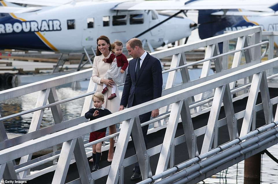 Prince William, Catherine, a young Prince George and Princess Charlotte were pictured in Victoria Harbor in 2016 while walking along the same ramp as Meghan Markle pictured on Tuesday