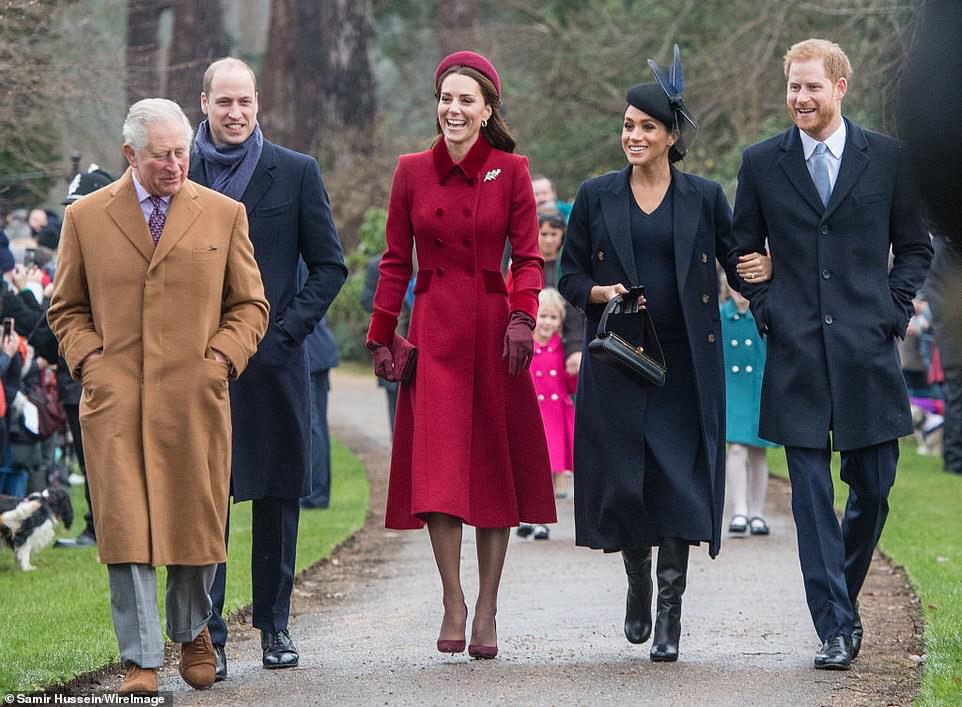 Prince Charles, Prince of Wales, Prince William, the Duke of Cambridge, Catherine, the Duchess of Cambridge, Meghan, the Duchess of Sussex and Prince Harry, the Duke of Sussex participate in the church service on Christmas day in Sandringham in 2018