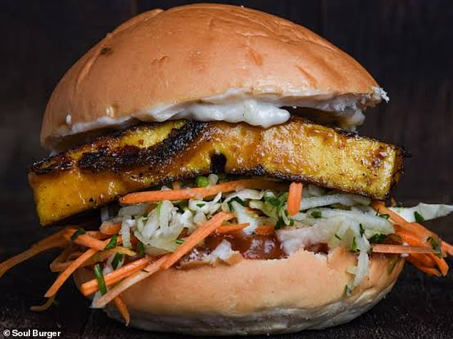The satay marinated tofu was tender and paired with apple slaw, aoili sauce and tomato relish on a wheat bun