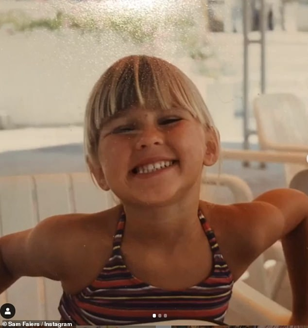 Holidays: Sam uploaded some snaps of Billie from their childhood