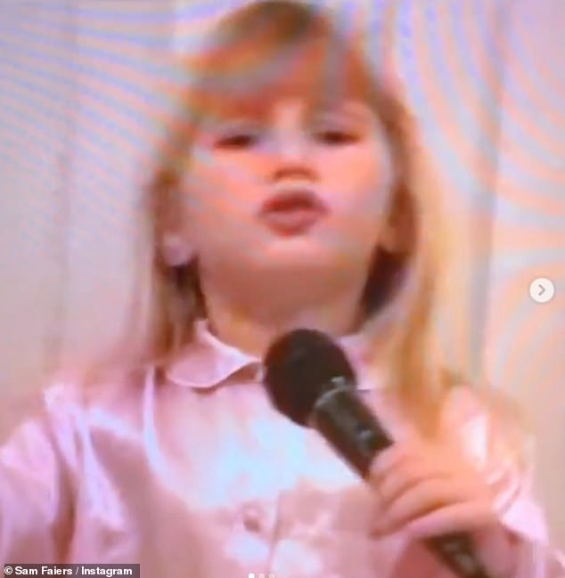 Blue-eyed performer: The television personality sung her heart out in a throwback clip