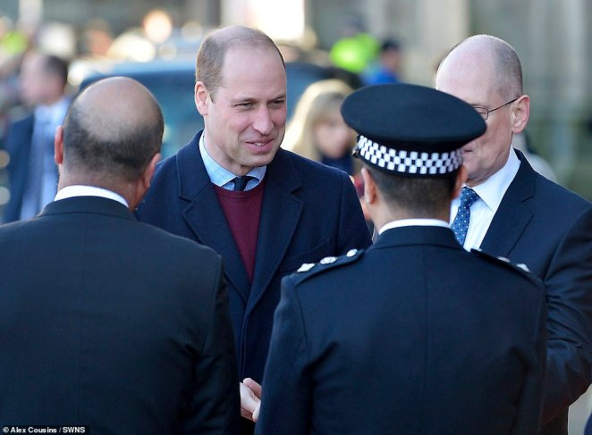 The Duke of Cambridge smiles as he arrives at Bradford City Hall today to hear about life in the city from young locals