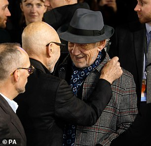 Type: Sir Patrick pulled his friend's lapel to make sure he wasn't too cold during the event.