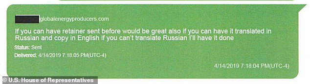 The documents include a series of back-and-forth messages about getting a retainer completed. An April, 2019 message from Parnas seeks to have it translated into Russian