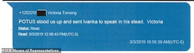 Attorney Victoria Toensing writes Parnas that the president 'stood us up and sent Ivanka to speak in his stead'