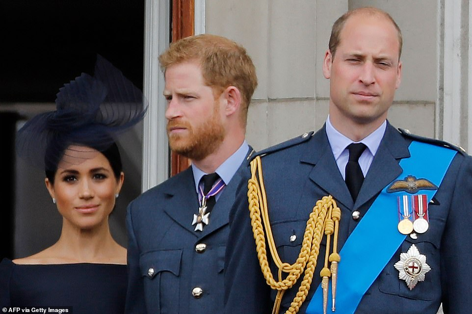 Ahead of the Sandringham summit it was reported that Prince Harry and his wife had felt 'bullied' by Prince William, a claim which was strenuously denied by the brothers in a joint statement (pictured: the Sussexes and the Duke of Cambridge at Buckingham Palace in 2018). But there is a rift between the siblings, according to various sources