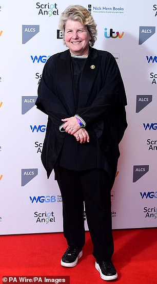 Toksvig is pictured at The Writers' Guild Awards 2020 held in London on Monday