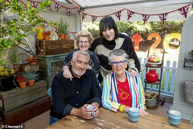 Toksvig (rear left) with fellow Bake Off stars Paul Hollywood, Noel Fielding and Prue Leith