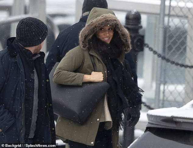 Canada appears split over whether to welcome Prince Harry and Meghan Markle. Pictured: Meghan photographed on Tuesday leaving the £10million Vancouver Island home where she and Prince Harry stayed over the holidays with Archie