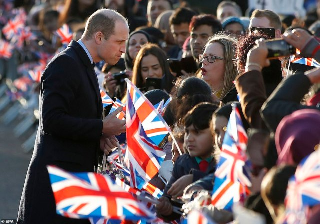 William speaks to well-wishers as he arrives at the Khidmat Centre in Bradford yesterday